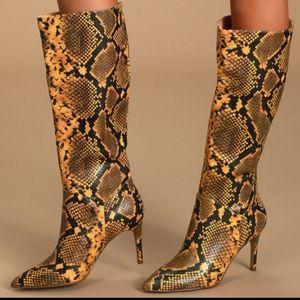 Steve Madden Kinga Yellow Snake Knee High Boots